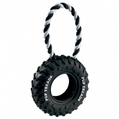 rubber tyre and rope dog toy - two sizes